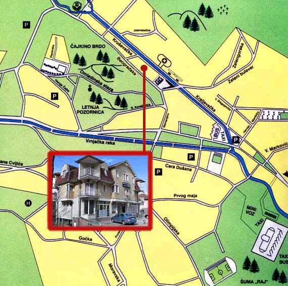 Vrnjacka Banja Mapa Grada Smestaja